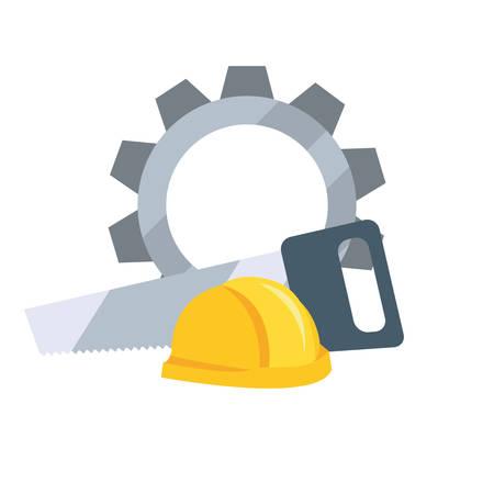 helmet gear saw tool vector illustration design