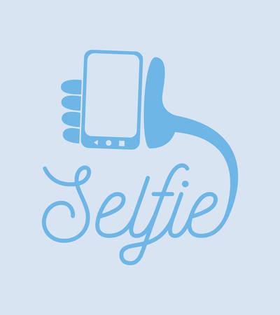 selfie inscriptie hand mobiel op witte achtergrond vectorillustratie Vector Illustratie