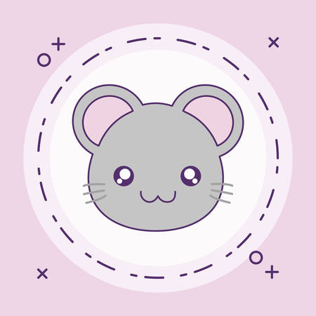 head of cute little mouse baby in frame circular vector illustration design Banque d'images - 129184950