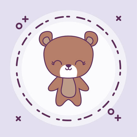 cute bear animal with frame circular vector illustration design Banque d'images - 129185038