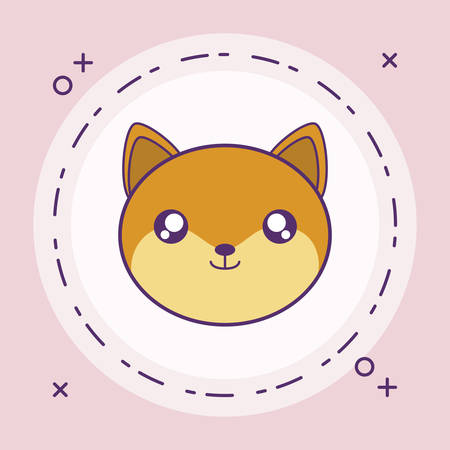 head of cute little fox baby in frame circular vector illustration design Banque d'images - 129185047