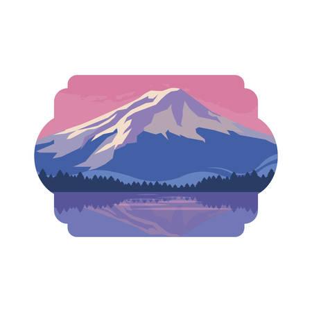 mountains snowscape scene icon vector illustration design