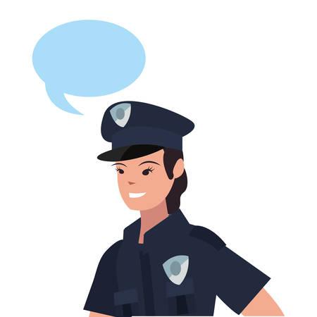 female policeman portrait speech bubble on white background vector illustration Foto de archivo - 129176504