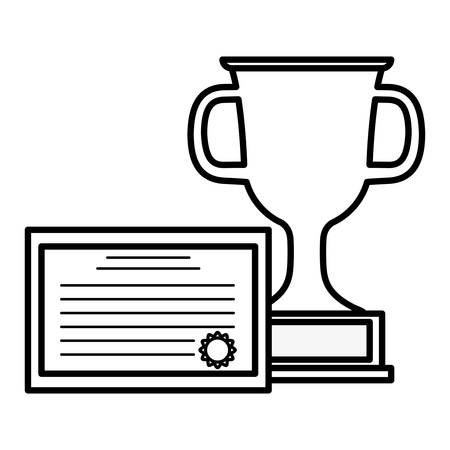 graduation certificate with trophy cup vector illustration design Standard-Bild - 129185199