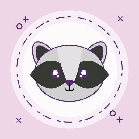 head of cute little raccoon baby in frame circular vector illustration design Vektorové ilustrace