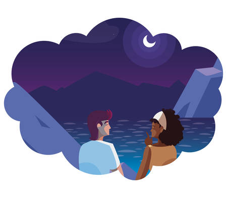 couple contemplating horizon in lake and mountains at night vector illustration