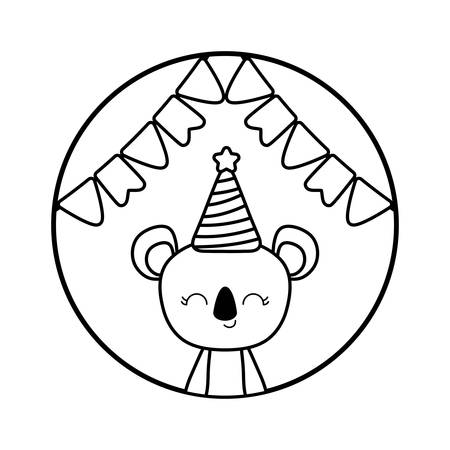 cute koala with hat party in frame circular vector illustration design Banque d'images - 129185451