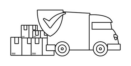 truck delivery fast free shipping check mark vector illustration