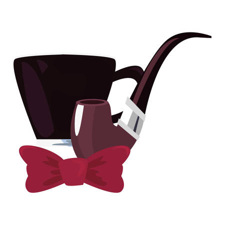 coffee cup pipe bow tie happy fathers day vector illustration