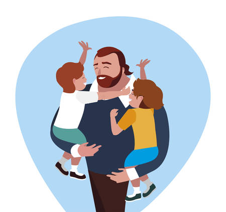 father with sons characters vector illustration design