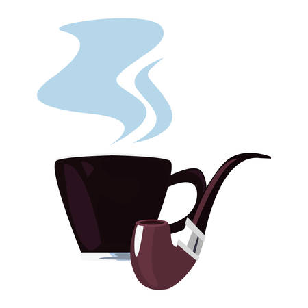 coffee cup tobacco pipe happy fathers day vector illustration