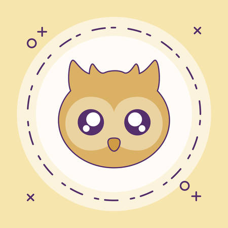 head of cute little owl baby in frame circular vector illustration design Banque d'images - 129185728