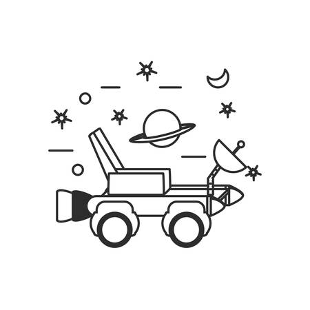 space explorer car with planet saturn and set icons vector illustration design Foto de archivo - 129185743