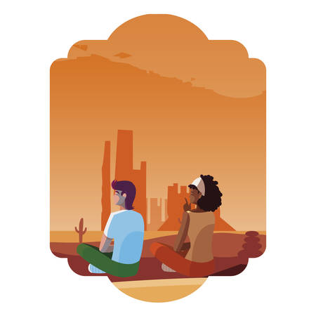 couple contemplating horizon in the desert scene vector illustration design Фото со стока - 129184903