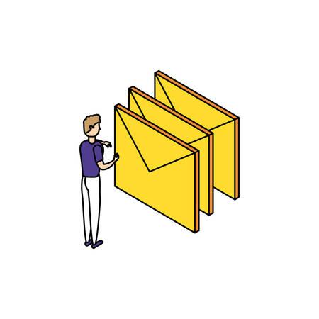 businessman worker with envelope mail vector illustration design Foto de archivo - 129185847