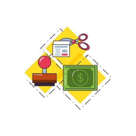 bill dollar with rubber stamp and scissor vector illustration design