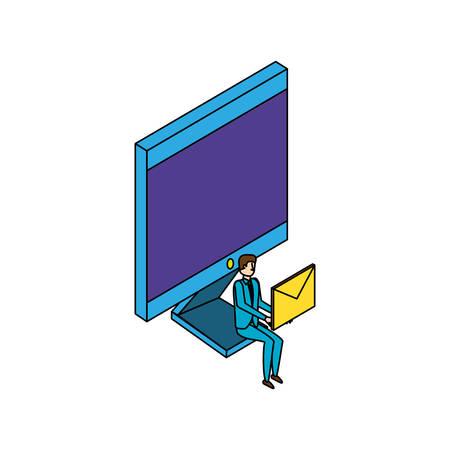 businessman worker with computer and envelope vector illustration design Foto de archivo - 129185939