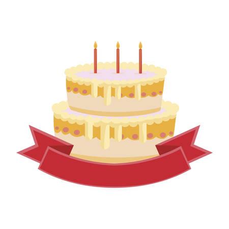 sweet cake birthday with ribbon frame vector illustration design Imagens - 129185953