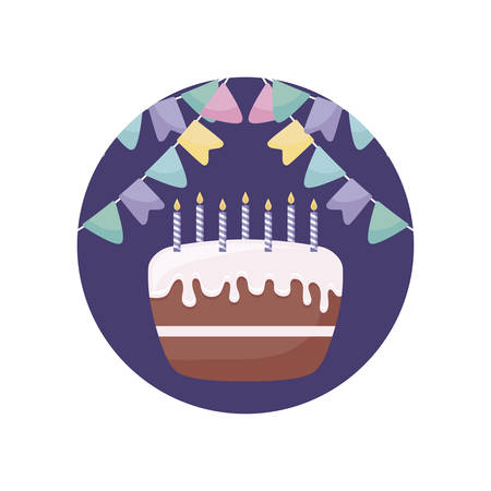 sweet cake with candles in frame circular vector illustration design Stock Illustratie