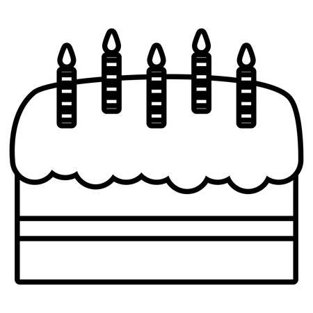 sweet birthday cake with candles vector illustration design Ilustração