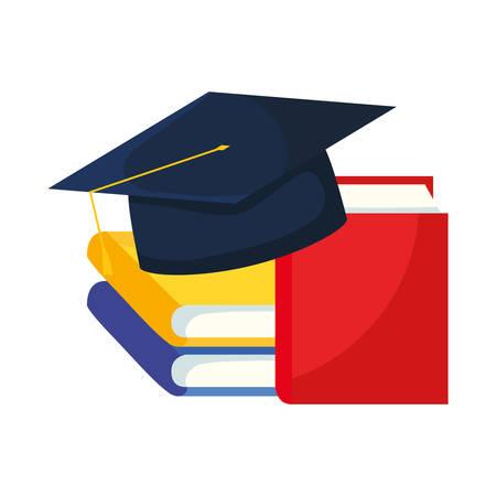 text books with hat graduation vector illustration design