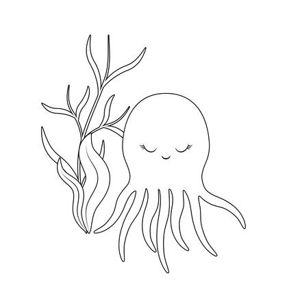 cute octopus with seaweed vector illustration design