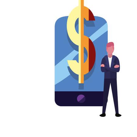 businessman cellphone money bank vector illustration vector illustration