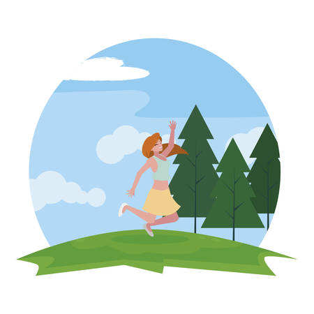 happy young woman celebrating in the camp vector illustration design Standard-Bild - 129228983