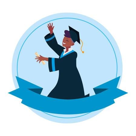 afro student boy graduated celebrating vector illustration design 向量圖像