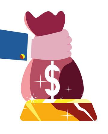 hand holding money bag bar investment vector illustration