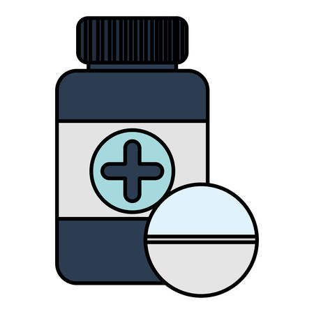 bottle drugs with pill medical vector illustration design