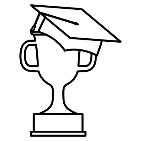 hat graduation with trophy cup vector illustration design 向量圖像