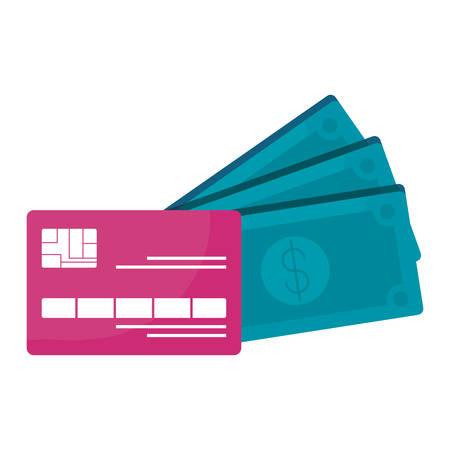 credit card with bills dollars vector illustration design Stock Illustratie