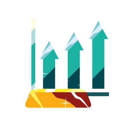 business chart arrow economy financial vector illustration