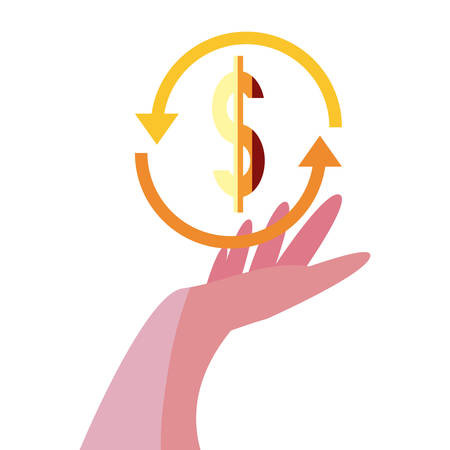 hand with dollar exchange sign vector illustration
