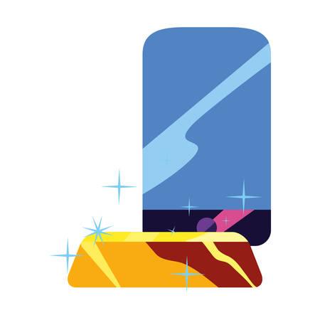 smartphone gold bar on white background vector illustration