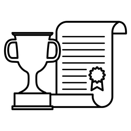 graduation certificate with trophy cup vector illustration design