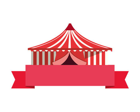 circus tent ribbon on white background vector illustration