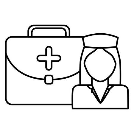nurse professional with medical kit character vector illustration design Stock Illustratie