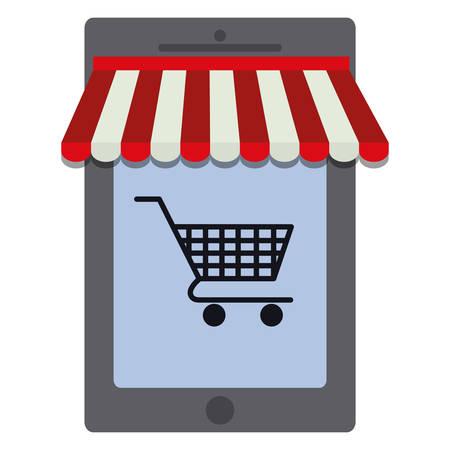 smartphone device with shopping cart vector illustration design Иллюстрация