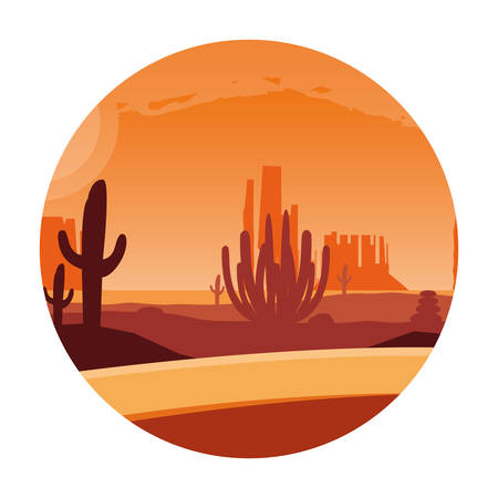 desert landscape scene in frame circular vector illustration design Vectores