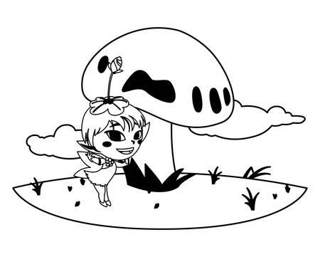 beautiful magic fairy in the camp vector illustration design Standard-Bild - 129229363