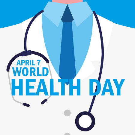world health day card with doctor vector illustration design  イラスト・ベクター素材
