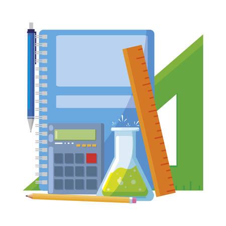 school notebook with supplies vector illustration design