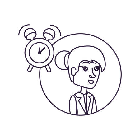 business woman in frame circular with alarm clock vector illustration design