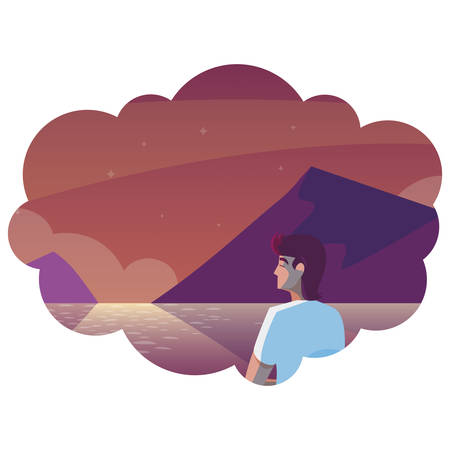 man contemplating horizon in lake and mountains scene vector illustration design Illustration
