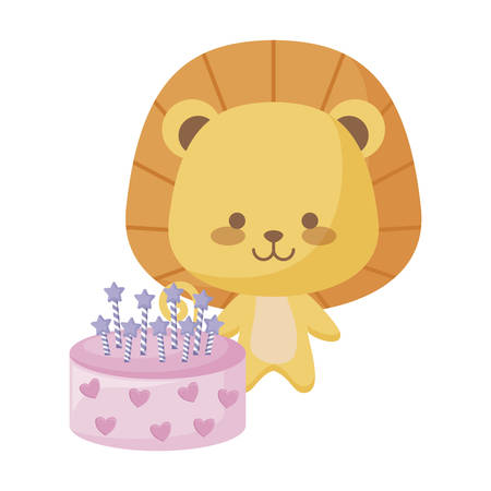 cute lion animal with cake birthday vector illustration design Foto de archivo - 129196801
