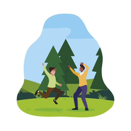interracial young men celebrating in the camp vector illustration design