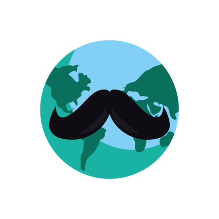 world with mustache happy fathers day vector illustration Stock Illustratie