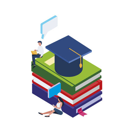 pile text books with hat graduation and minipeople vector illustration design